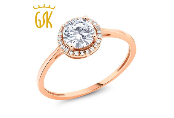 Made in the USA - 10K Rose Gold Diamond Engagement Ring Round White Created Moissanite 0.9 cttw