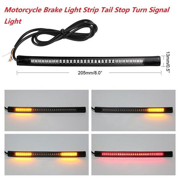 "8/"" Motorcycle 48 LED Flexible Strip Light Tail Brake Stop Turn Signal Amber Red"