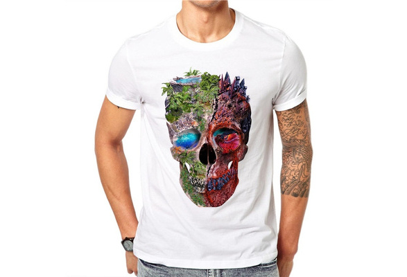 100% Cotton Novelty Skull Design Short Sleeve Fashion Men T Shirts Forest Skull Printed Casual Tops RT53
