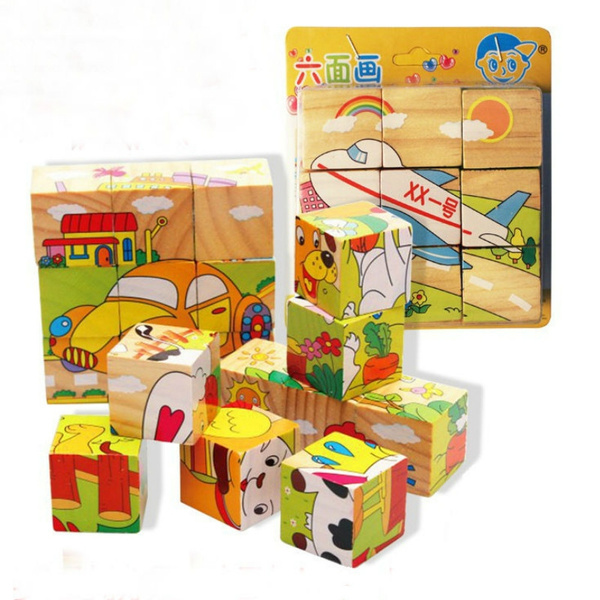3D Puzzle Kids Educational Wooden Jigsaw Toy Babies Toys Learning Blocks Figures