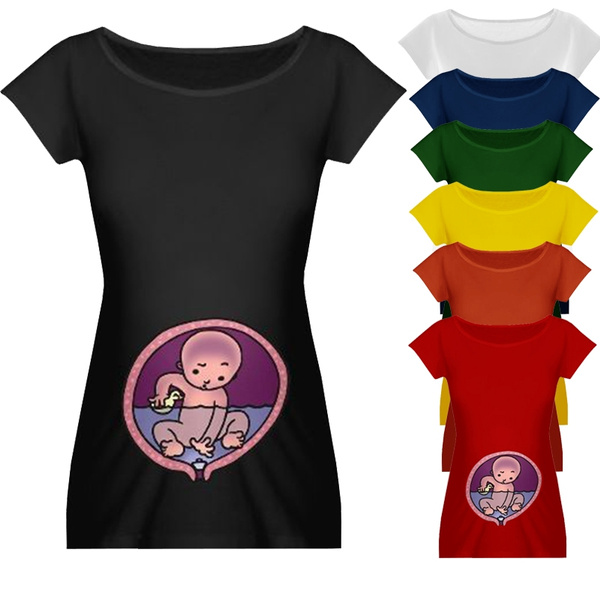 fe22ccc3 Funny Fitness Cotton Maternity Top Peeking Baby Shirt Cute Pregnancy ...