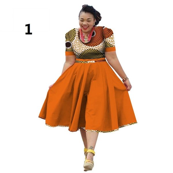 Plus Size Short Sleeve Summer Dress African Print Dress Dashiki for Women  Bazin Riche Vestidos Femme Dress WY733