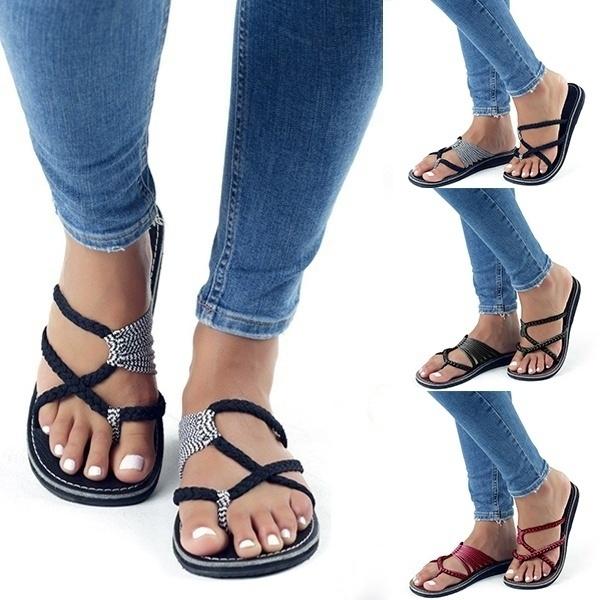 1263e0a7268 Women s Fashion Spring Summer Breathable Bandage Flat Sandal Womens ...