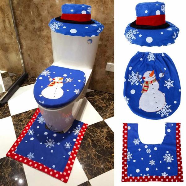 Tremendous 1 2 3Pcs Christmas Fancy Santa Claus Snowman Toilet Seat Cover And Rug Set Xmas Home Bathroom Decor Set Cjindustries Chair Design For Home Cjindustriesco