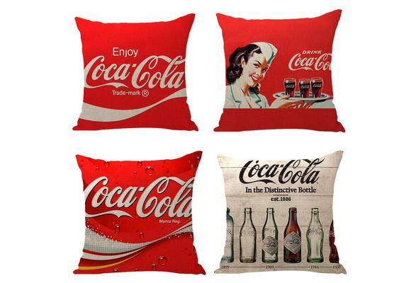Home Decorative Pillow Cover Coca-Cola / Pepsi Car Cushions Sofa Pillowcase Office Cafe Square Polyester Watercolor Pillowcase