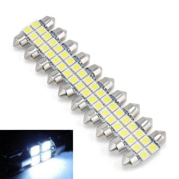 10X White DC12V 5050 31mm 4SMD Car RV Interior Dome Festoon LED Light Bulbs Lamp