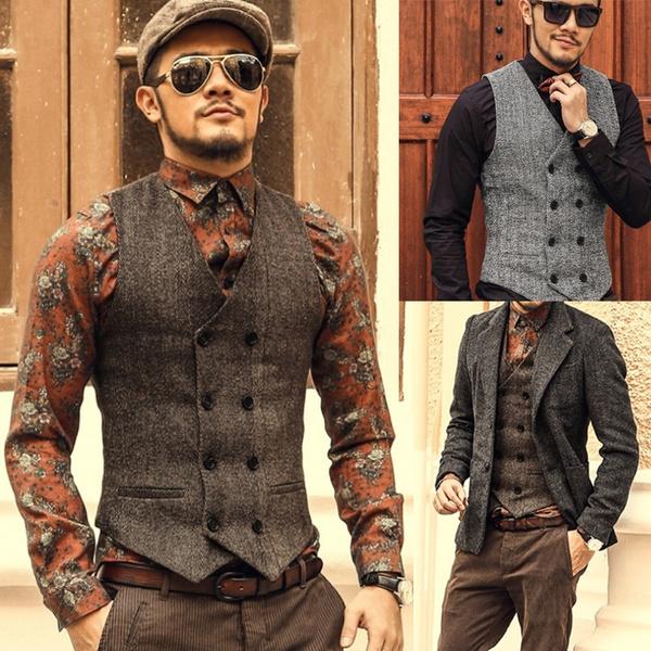 cb414034ff1 Mens Double Breasted Vest Men Dress Suit Vest Men Formal Gray Vest Suit  Vest Suit slim jacket Tops Men