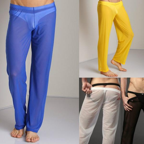 bea3beca0db05 Sleep Bottoms Men Sexy Sheer Long Pants Gay Tights Leggings ...