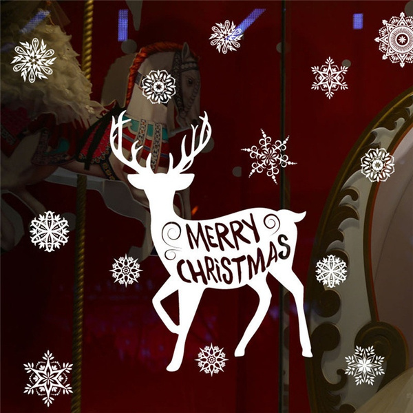 wish removable christmas glass sticker decals x mas elk showcase mall new year navidad party home diy decor windom stickers - Christmas Decals For Glass