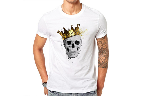 100% Cotton Simple Skull King Design Men T-shirt Harajuku Printed Male Cool Tops Hipster Style Short Sleeve Casual Tee T Shirts