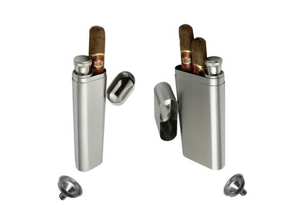 2Oz Portable Stainless Steel Flagon Funnel Mini Hip Flask Wine Bottle Cigar Tube