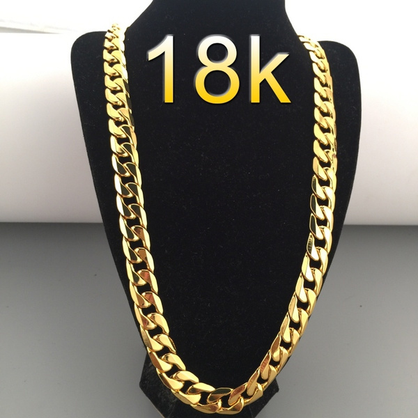 18k Gold Plated 6mm Men S Nk Links Figaro Chain Necklace Size 18 30 Inches Wish