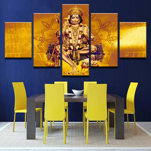 Home Decorative Pictures Canvas Paintings 5 Pieces India Monkey Lord Hanuman Shri Ram Poster Prints For Living Room Decor No Framed