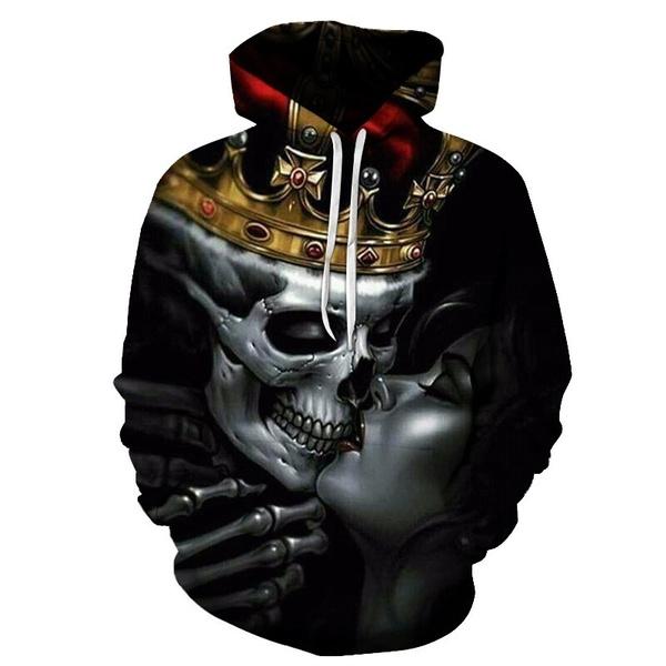 3D hoodies, fashion women, skull sweatshirt, pullover hoodie
