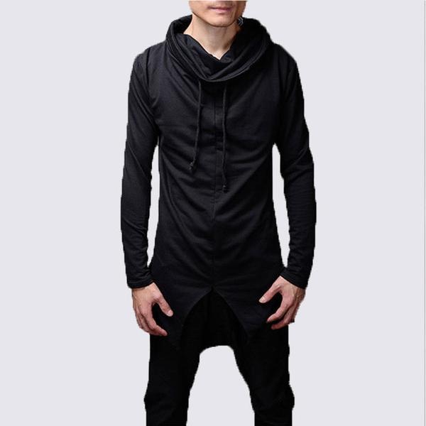 aae2922e6b4f33 Cowl Neck long sleeve t shirt Longline hem men t-shirt hip hop lace shawl neck  black tshirt streetwear