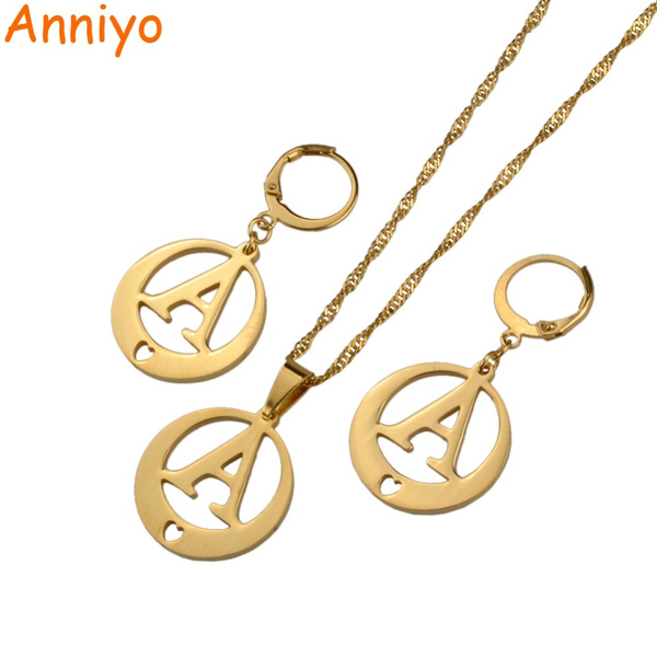 8a30f7c5d anniyo (a-z) gold color letters necklace & earrings initial for ...