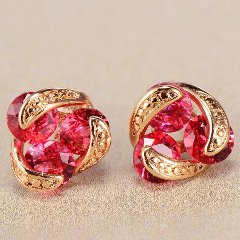 Women Crystal CZ Jewelry 18K Multi-Tone Gold Filled Hollow Hoop Huggie Earring