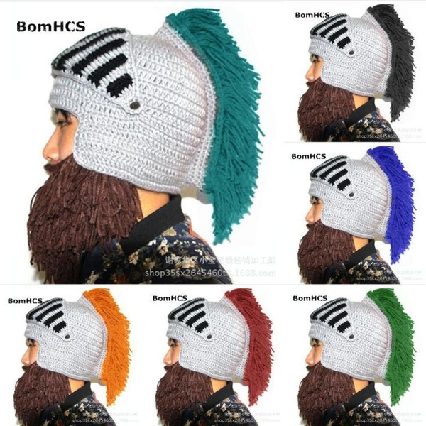 Warm Hat With Beard Bearded Hat Cospaly Barbarian Knit Crochet Beanie Winter Cap