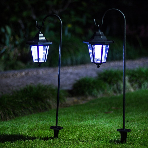 26 Inch Solar Lights Outdoor Hanging Solar Coach Lantern With 2 Shepherd Hooks 2 Pack