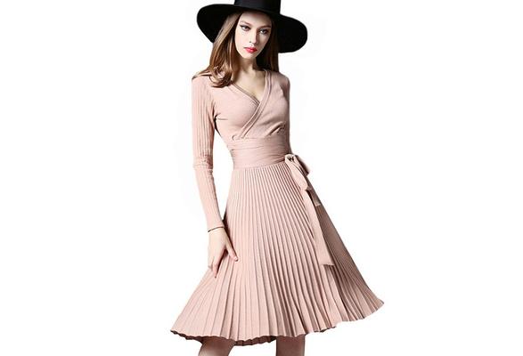 High Quality Elegant Winter Dress Office Dresses For Women Decorative Sashes V-Neck Solid Plus Size Vintage Vestidos