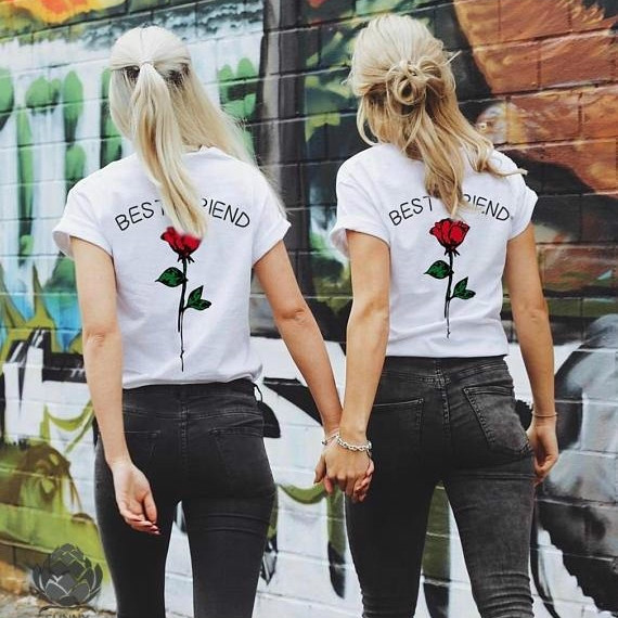 0e09ce8324 BEST FRIEND Letters and Rose Printed T Shirts Friends Shirts ...