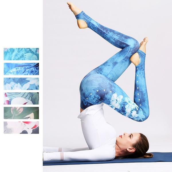 Women Sport Yoga Running Dance Stirrup Pants Print High Waisted Workout Leggings