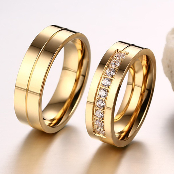 Simple Titanium Steel Couple Rings 18k Gold Plated Ring Charming Men Women Wedding Bands Wish