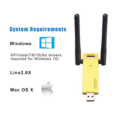 Slicemall Wifi Adapter USB3 0 Wireless Computer Network Long Range  High-gain Antenna Dual Band WIFI 1200Mbps(5GHz 866Mbps /2 4GHz 300Mbps)  Supports