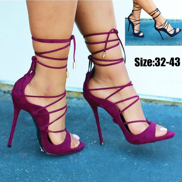 WOMEN LADIES HIGH HEEL PARTY FASHION ANKLE STRAP CONTRAST PEEP TOE SHOES SIZE