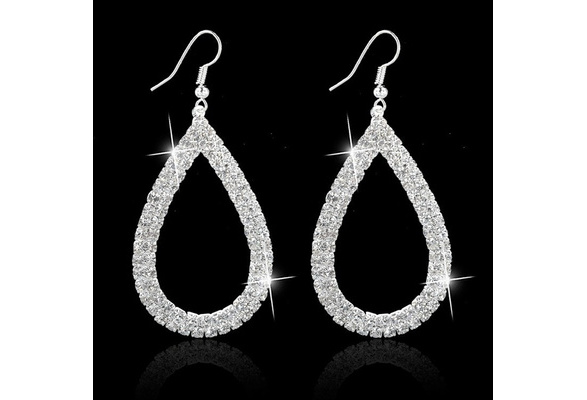 925 Sterling Silver Crystal Wedding Long Earrings Hollow Out Earrings for Women Brides Bridesmaid Valentine's Day Gifts