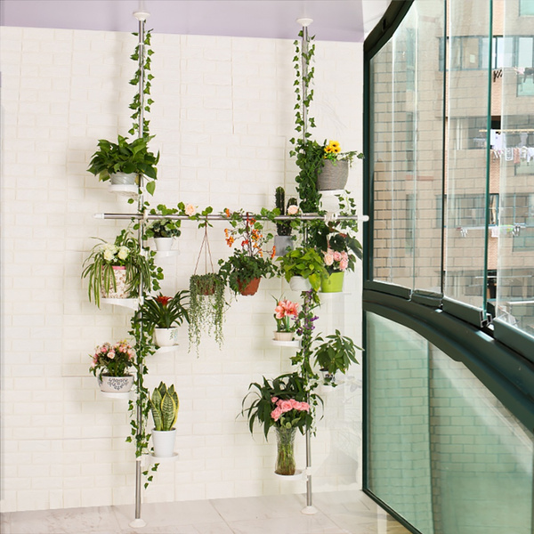 Wish Baoyouni Indoor Plant Stands Spring Double Tension Pole Metal Flower Display Rack E Saver Corner Fl Pot Storage Shelf With 12 Trays