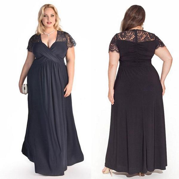 Wish | 2XL-6XL Plus Size Women\'s Fashion Lace Dress Prom Party Chic ...