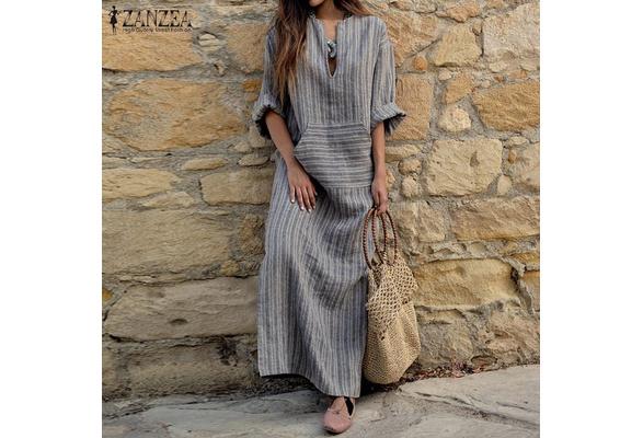 ZANZEA Women Sexy V-Neck Long Sleeve Dresses Vintage Casual Loose Maxi Long Vestidos
