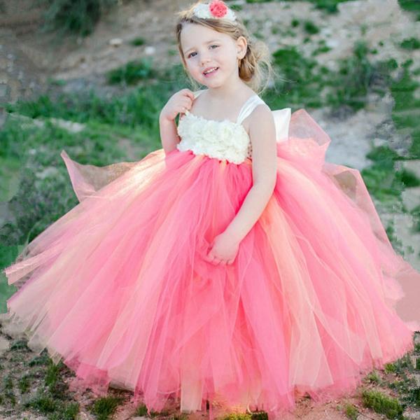 a71e5a22b5f0 Wish | Pink and Grey Flower Girl Tutu Dress Wedding Tulle Dress Girls  Wedding Dresses Robe Demoiselle D'honneur Rose Fille Kids Dress