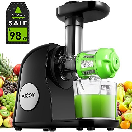 Aicok Juicer Slow Masticating Juicer Extractor, Cold Press Juicer Machine, Quiet Motor and Reverse Function, with Juice Jug and Brush to Clean
