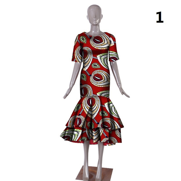 b0c8e51f0c6 African Dresses for Women In African Clothing Fashion Slim Fold Dresses Mid  Sleeve Garment Printed WY1027