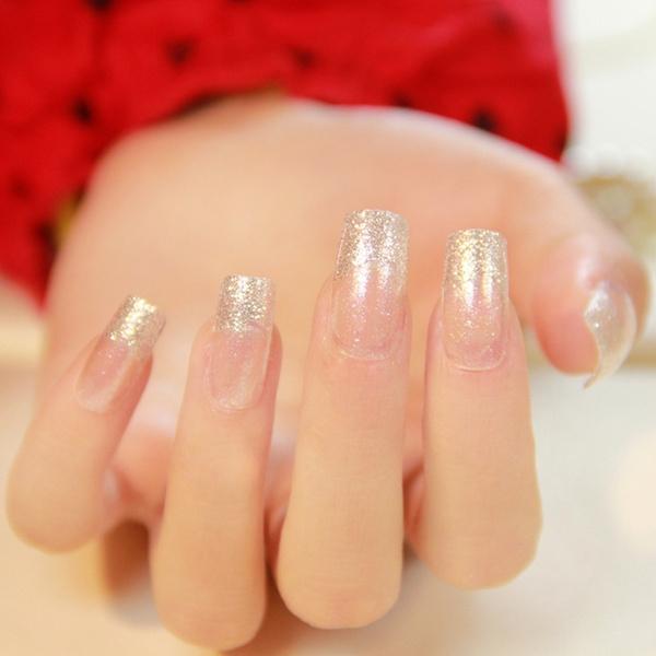 24pcs Clear French Style Shimmer Glitter Nails Decoration Uv Flat Acrylic Fake Nails Medium Art Tips Z298