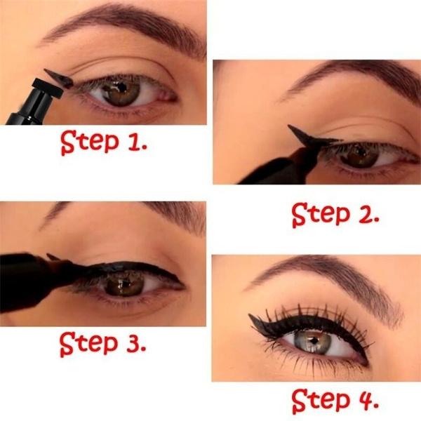 Wish | 2 Pcs Cat Eye Eyeliner Eyeshadow Template Stencil Card + 1 ...