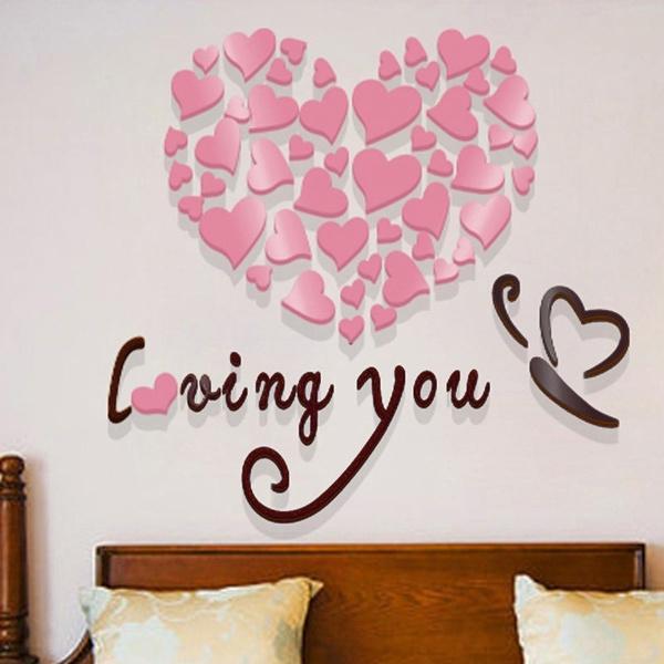 arcylic, Heart, Decor, bedroomwalldecoration