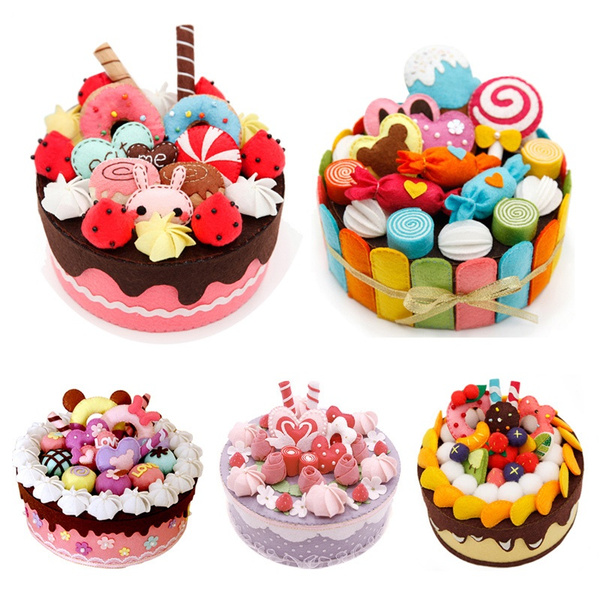 Enjoyable 11 Styles Diy Felt Cloth Birthday Cake Box Handmade Cute Cake Funny Birthday Cards Online Inifofree Goldxyz