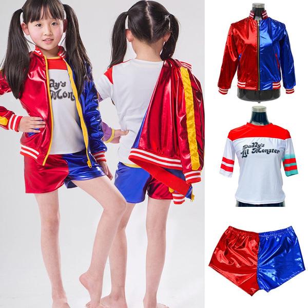 Kids Girls Suicide Squad Harley Quinn Long Sleeve Coat Top Shorts Set  Halloween COS Costume Set   Wish
