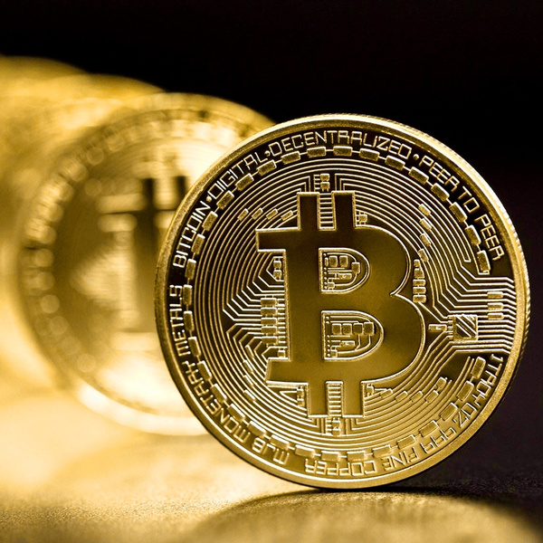 Gold Coin Bitcoin Commemorative Round Collectors Bit Coin is Gold Plated Coins#