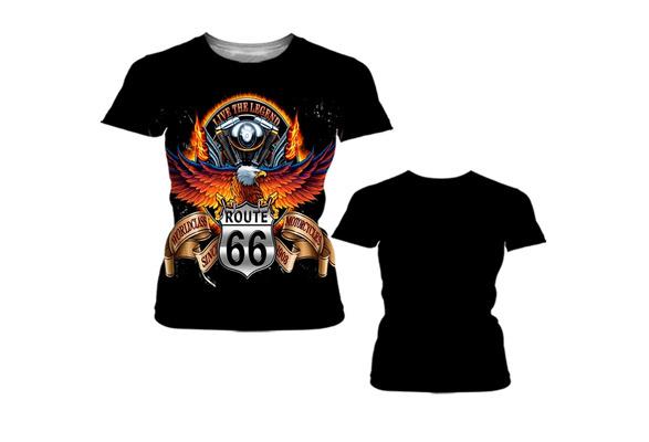 2018 Hot! Fashion Design Harley Davidson Eagle Print Cotton T-shirt Black Street Style Short Sleeves