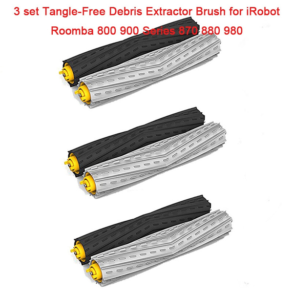 Clean Brushes -3 Set Front & Rear Debris Extractor Brush for IRobot Roomba  800 900 Series 870 880 980