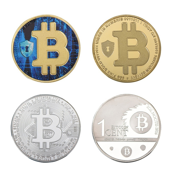 Wr A Set of 4 Cions Gold Plated Metal Coin Craft Custom Bitcoin Model Coins  with Plastic Case for Gift