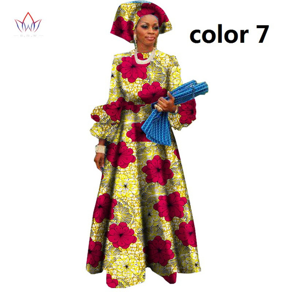 African Dresses for Women Bazin Riche Wax Print Plus Size African Clothing  Dashiki Lantern Sleeve Long Dress WY1144