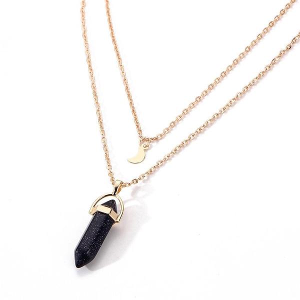 Natural Gemstone Rock Crystal Quartz Healing Point Chakra Stone Pendant Necklace