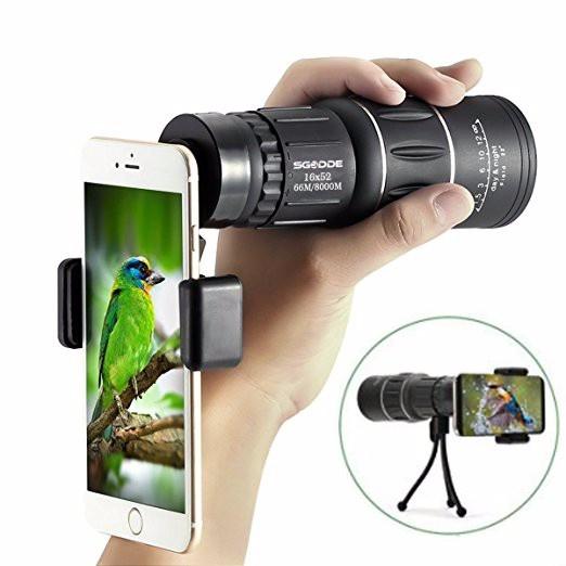 16x52 Zoom Dual Focus Monocular Telescope Lens Camera HD Scope+ Phone  Holder For Smartphone Notebook PC