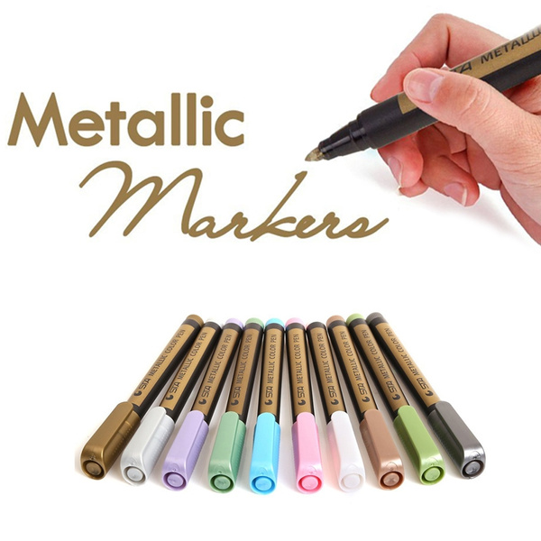 2 Pack Metallic Markers Pen For Rock Painting Medium Point Metallic Color Paint Markers For Ceramic Painting Glass Mug Plastic Photo Album Card