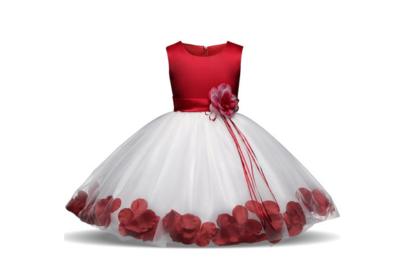 Children Wedding Party Flower Girl Dress Baby Girl Petals Dresses Newborn Baby Girls Clothes Infant Lace Flower Dress